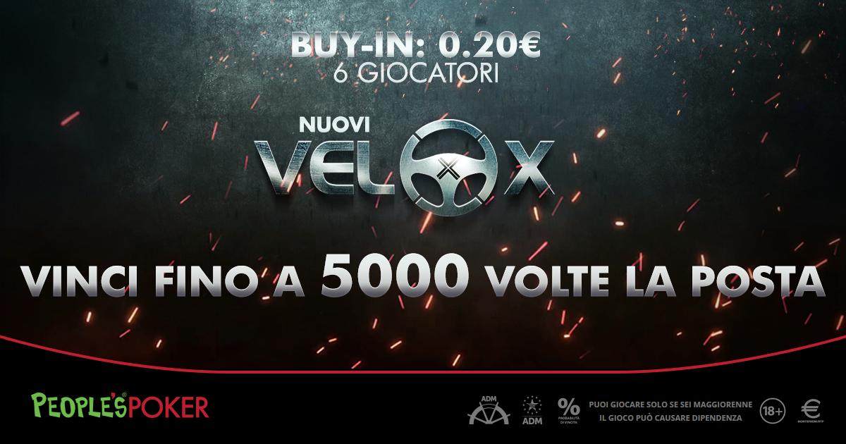 Su People's Poker i VeloX da 20 cents e 6 player: vincite fino a 5mila volte la posta