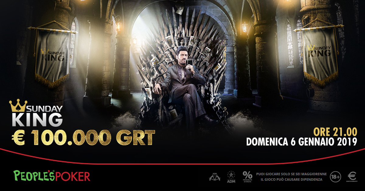 Domenica Sunday KING 100mila euro su People's Poker: ticket anche da 10 cents