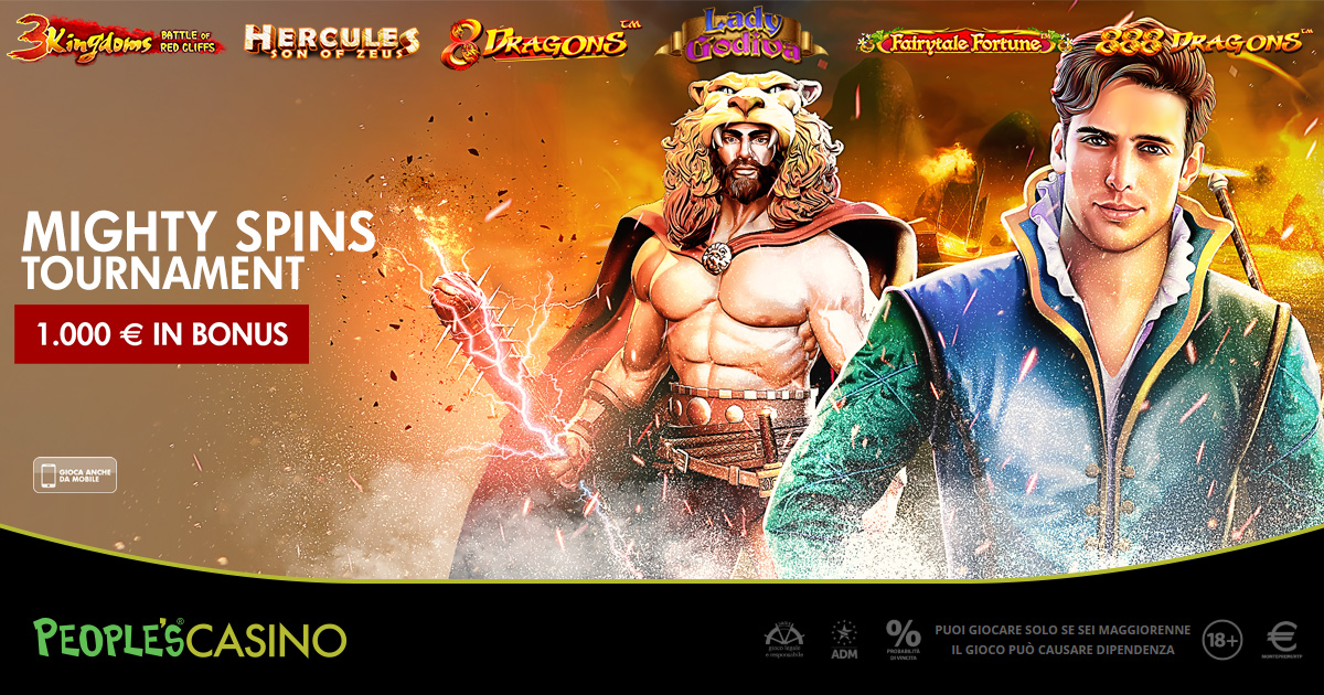 Mighty Spins è la nuova promo con extra bonus di People's Casino