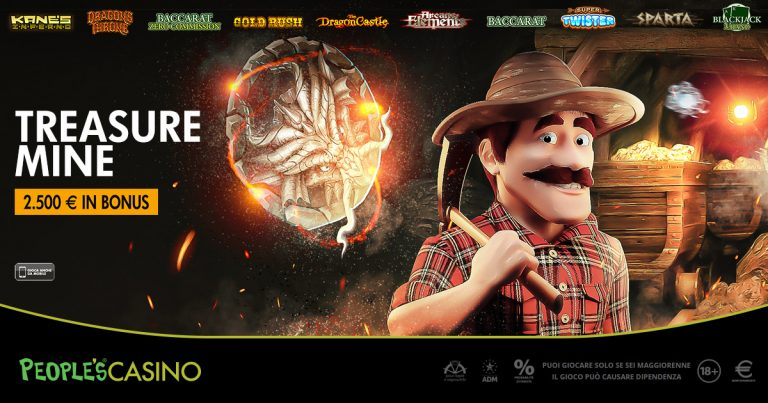 Treasure Mine, la nuova promo di People's Casino con in palio 2.500 euro in bonus