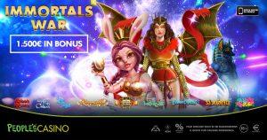 Videoslot in promo, nel People's Casino bonus e novità con Immortals War