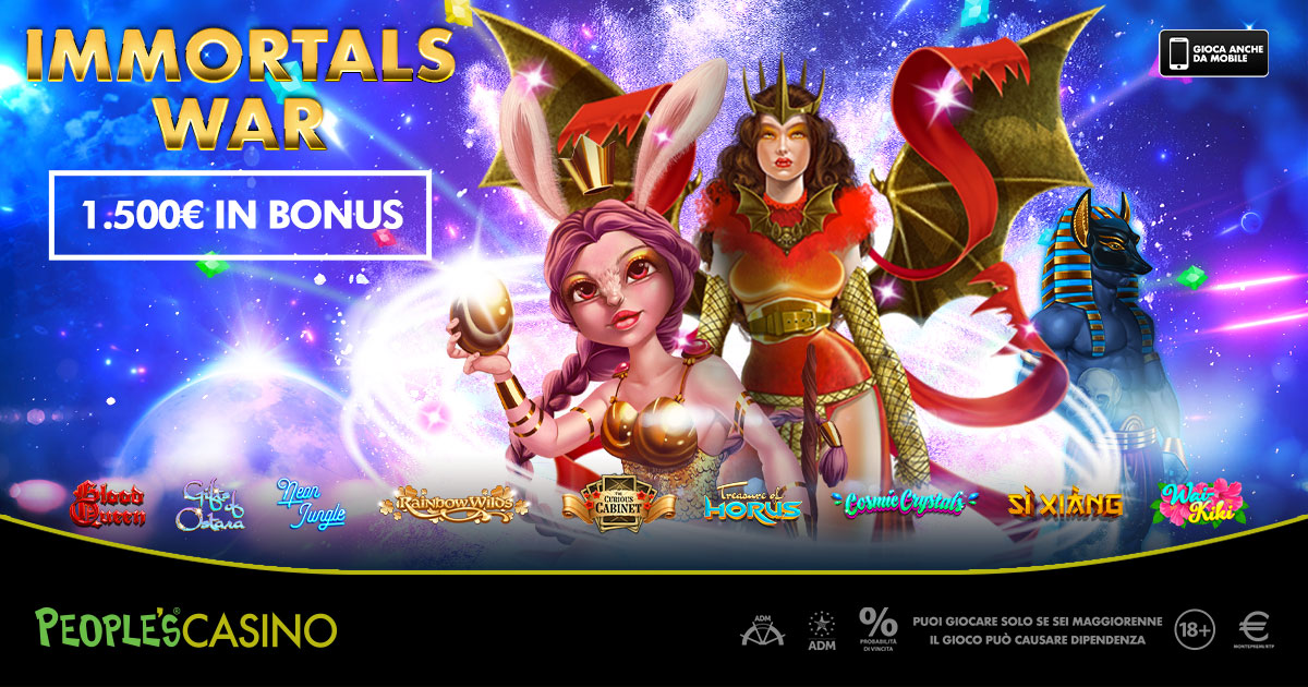 Videoslot in promo, nel People's Casino bonus e novità con Immortals War