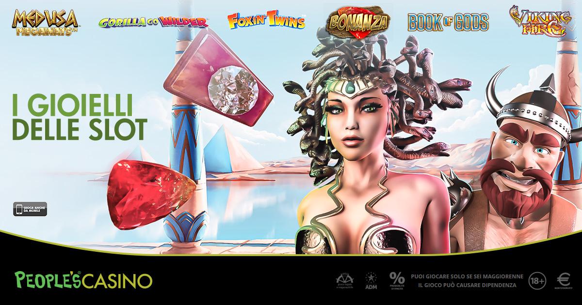 I Gioielli delle Slot esposti nella lobby del People's Casino
