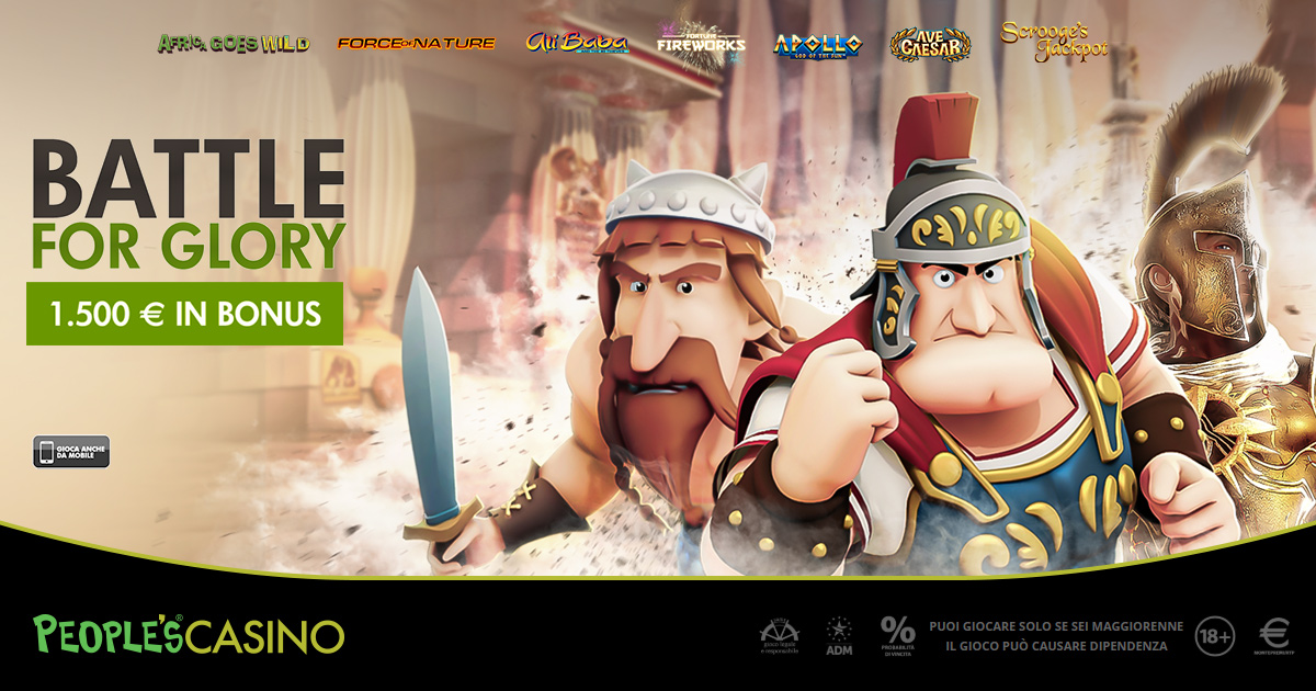 Nuova promo del People's Casino, con Battle for Glory gara per 100 bonus